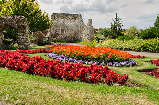 Gardens and remains of castle walls in