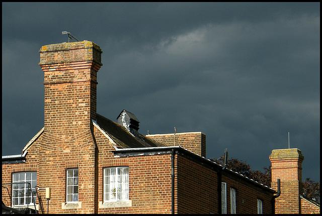 brick chimneys in a stormy sky