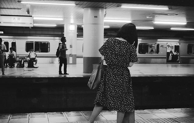 Woman in a polka dot dress