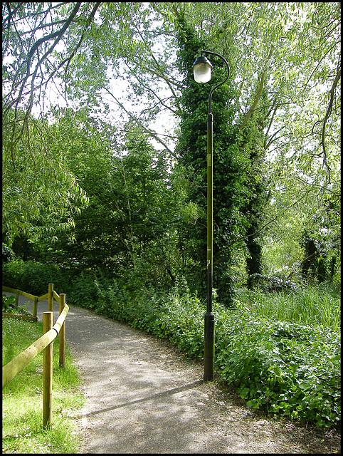 mossy green lamp post
