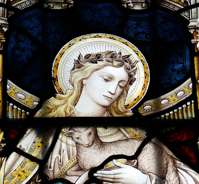 Detail of Stained Glass, Woolverstone Church, Suffolk