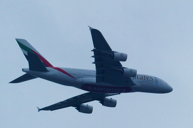 Emirates A380 approaching Heathrow - 2 August 2014