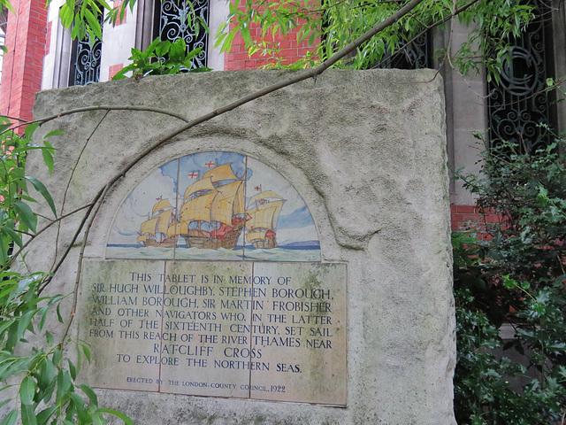 explorers' memorial, shadwell riverside, london