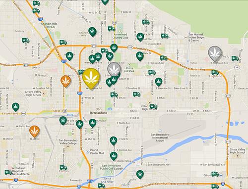 Weedmaps view of San Bernardino