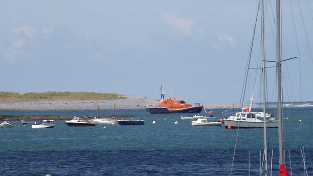 The lifeboat is safely moored up