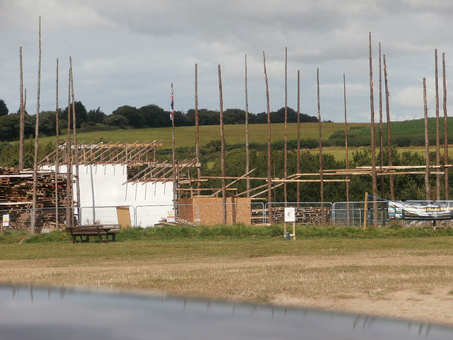 The bonfire being built to be burned in 2015 -