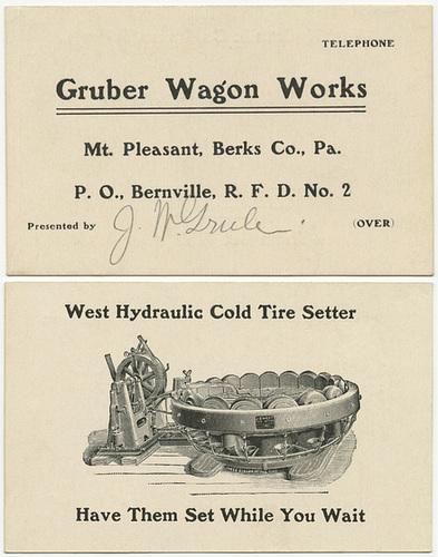 Gruber Wagon Works, Mt. Pleasant, Berks County, Pa.