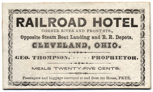 Railroad Hotel, Opposite Steam Boat Landing, Cleveland, Ohio