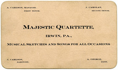 Majestic Quartette, Irwin, Pa., Musical Sketches and Songs