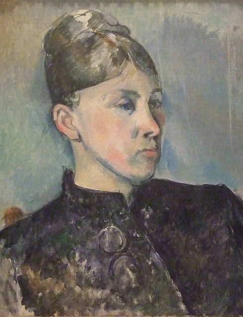 Detail of a Portrait of Madame Cezanne by Cezanne in the Philadelphia Museum of Art, January 2012