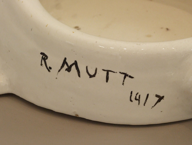 Detail of Fountain by Duchamp in the Philadelphia Museum of Art, January 2012