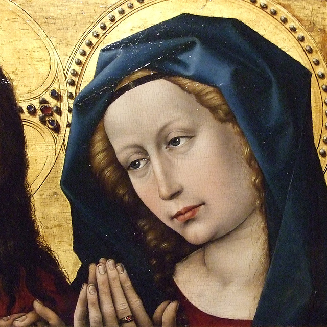 Detail of Christ and the Virgin by Robert Campin in the Philadelphia Museum of Art, January 2012