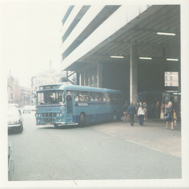 232/02 Premier Travel Services coach in Manchester - Aug 1974 (may be VER 262L)