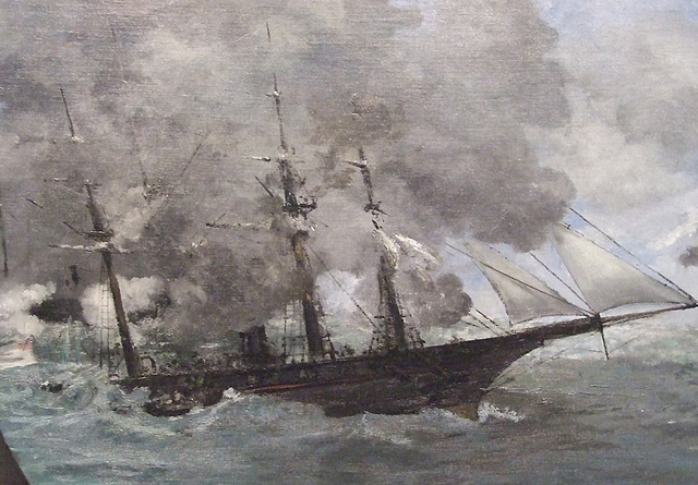 Detail of The Battle of the USS Kearsage and the CSS Alabama by Manet in the Philadelphia Museum of Art, August 2009