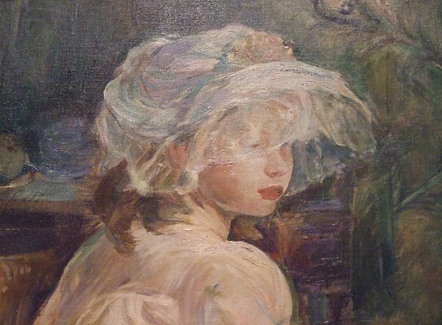 Detail of Young Girl with a Basket by Berthe Morisot in the Philadelphia Museum of Art, August 2009