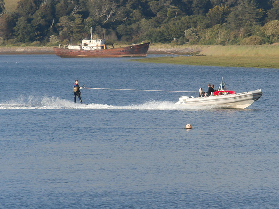 A lone water skier