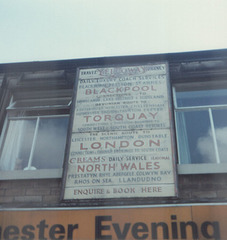 Yelloway destination board (Keith Aspinall's shop, Milnrow) 20 Apr 1981