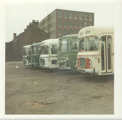 Line up of coaches at Rochdale - August 1972