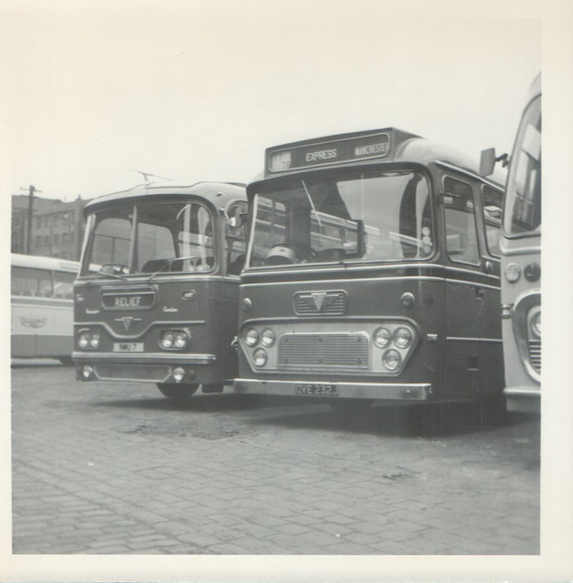 209 Premier Travel Services NMU 7 and OVE 232J in Rochdale - April 1972