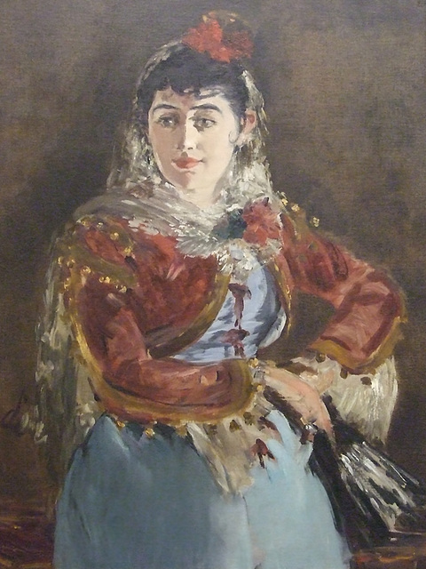 Detail of the Portrait of Emilie Ambre as Carmen by Manet in the Philadelphia Museum of Art, January 2012