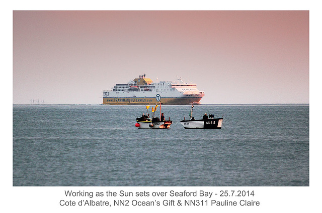 Working at sunset - Cote d'Albatre & Newhaven fishing vessels NN2 & NN311 - Seaford Bay - 25.7.2014