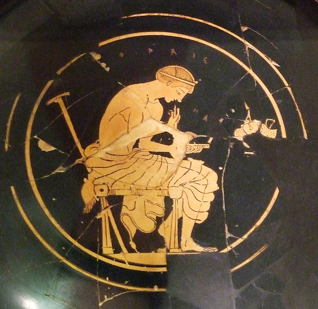 Detail of the Fragmentary Red-Figure Kylix Attributed to Onesimos in the Princeton University Art Museum, July 2011