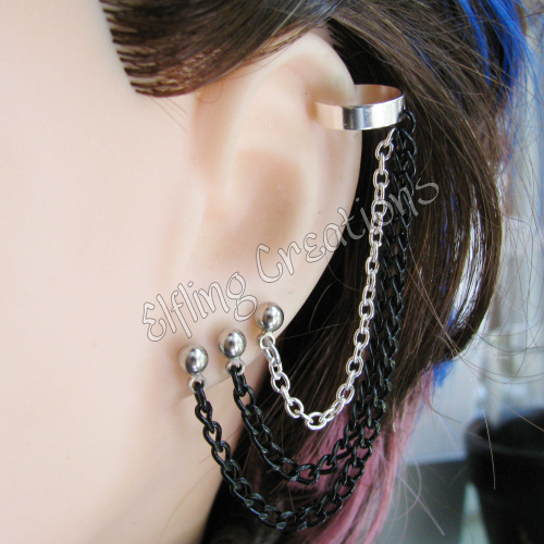 Silver and Black Triple Pierced Earring With Cuff