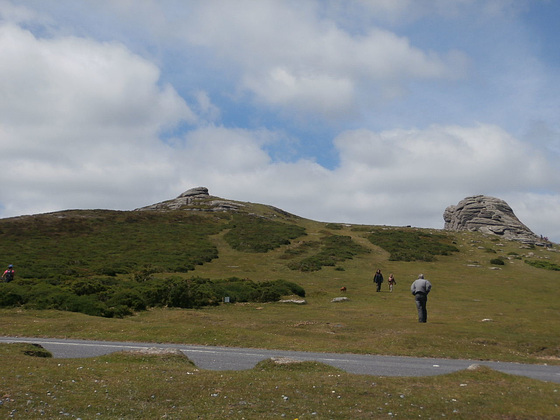 Mickey on his way up to Haytor - wind catching his jacket