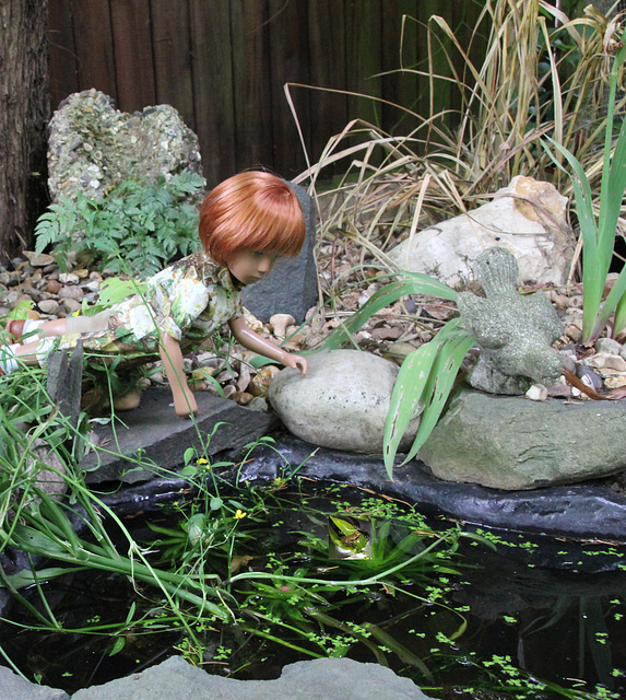 Rory sees the first baby frog in the pond