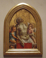 Pinnacle from an Altarpiece with the Dead Christ Supported by Angels by Crivelli in the Philadelphia Museum of Art, August 2009