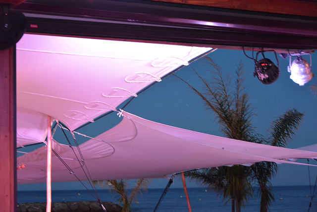 bâches-parasol, soir, bor de mer