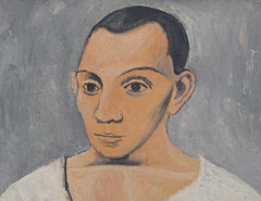 Detail of Self-Portrait with a Palette by Picasso in the Philadelphia Museum of Art, August 2009