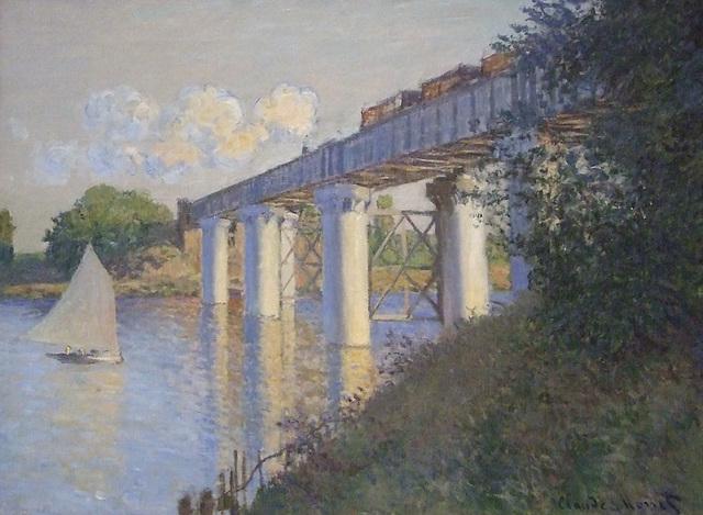 Detail of Railroad Bridge, Argenteuil by Monet in the Philadelphia Museum of Art, January 2012