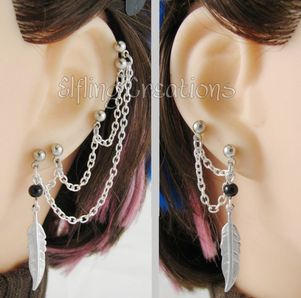 Silver And Black Feather Five Piercing Double Lobe Pierced Cartilage Chain Earrings