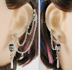 Silver and Black Dagger Sword Multiple Piercing Cartilage Chain Earrings