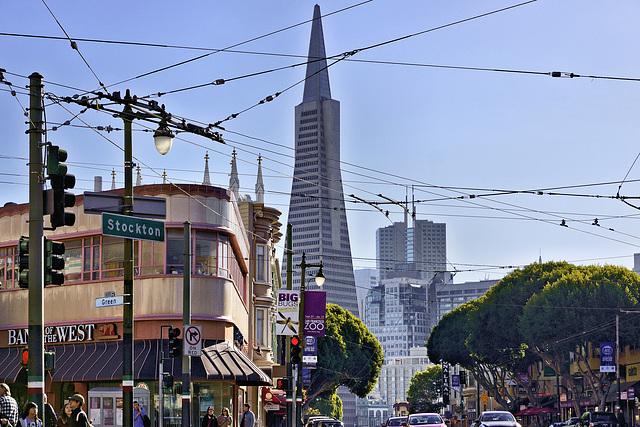 The Transamerica Pyramid – Viewed from Stockton Street at Green Street, San Francisco, California