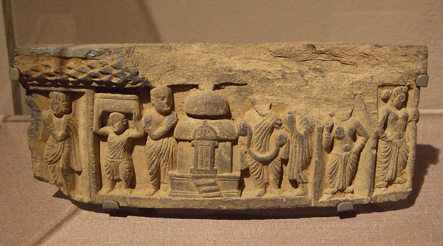 Schist Fragment Showing Worshippers at a Shrine in the Philadelphia Museum of Art, January 2012