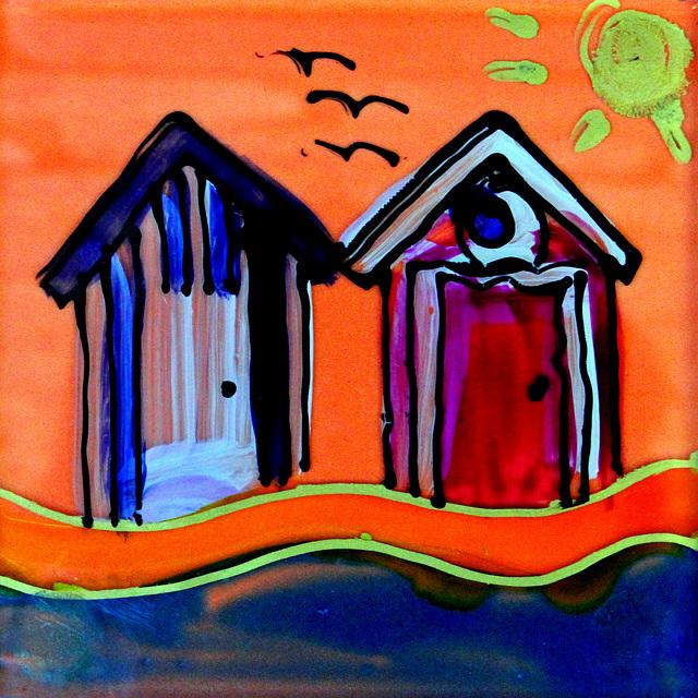 Beach Huts on Orange