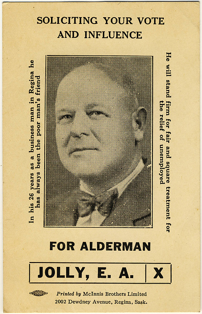3973. [E. A. Jolly election card, Regina]