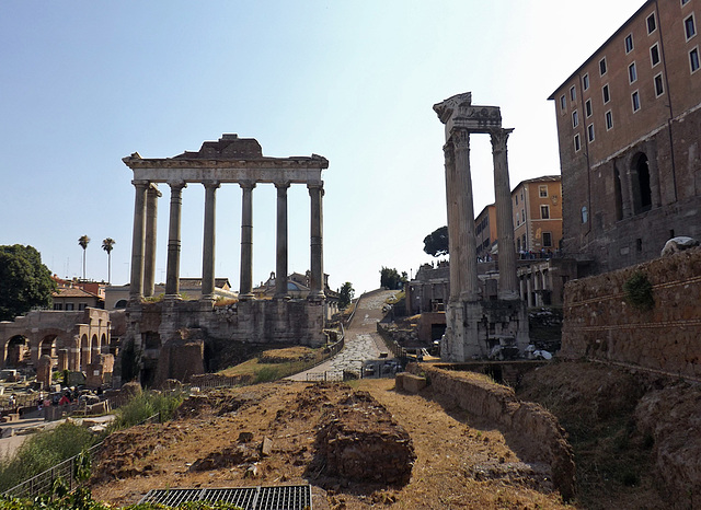 The Temple of Saturn and the Temple of Vespasian in the Roman Forum, July 2012