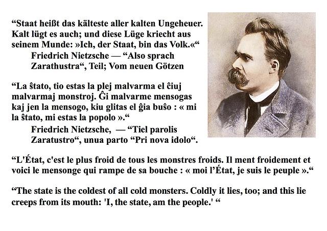Nietzsche, l'État, la ŝtato, monstro, monstre
