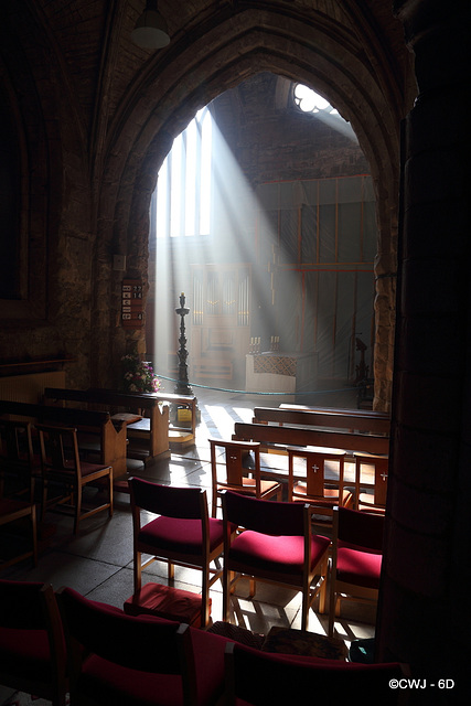 Morning sunlight streaming into Pluscarden Abbey