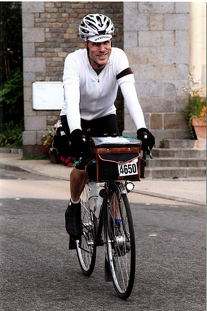 Alan in Dinge. Second day, August 22. 315km. Still smiling. 2011 PBP.