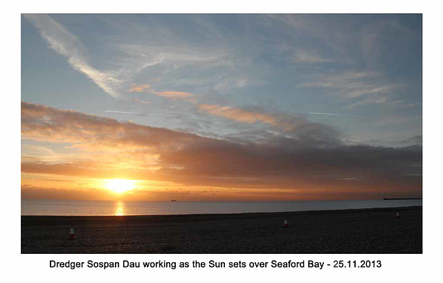 Sospan Dau works as the Sun sets - Seaford Bay - 25 11 2013