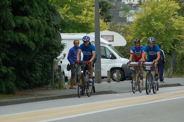 Left to right: Mark Thomas, Joel Platzner, and Corey Thompson arriving in Carhaix during the evening of August 23