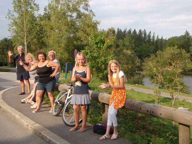 Fans in LaCheze during evening of 2nd day, August 22, at 438km. Only 11km to Loudeac.