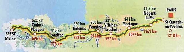 Map: 2011 Paris-Brest-Paris course (with distances)