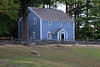 Blue house and sheep