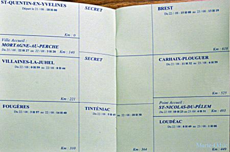Blank road card before 2011 PBP