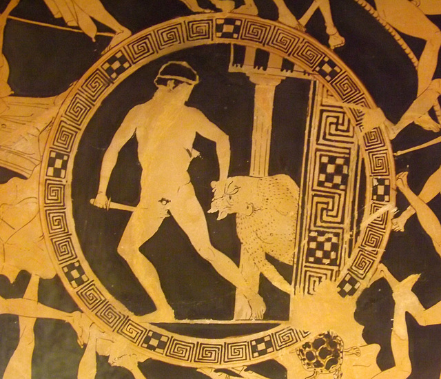 Detail of a Red-Figured Kylix with the Deeds of Theseus in the British Museum, May 2014